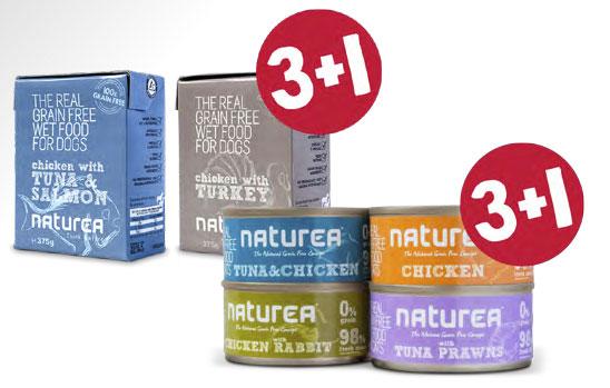 Promocja 3+1. Bezzbożowa mokra karma dla psów i kotów od Naturea!
