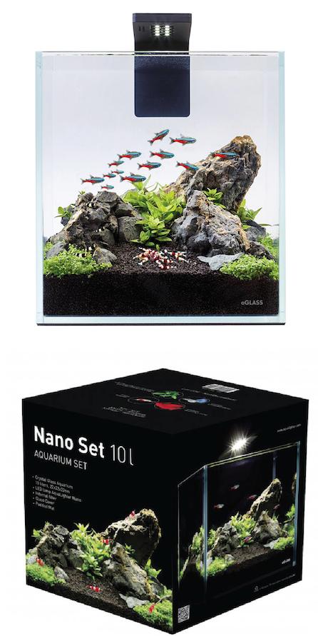Zestaw akwariowy ze szkła OPTI-WHITE zoświetleniem Aqualighter NANO Set 10L