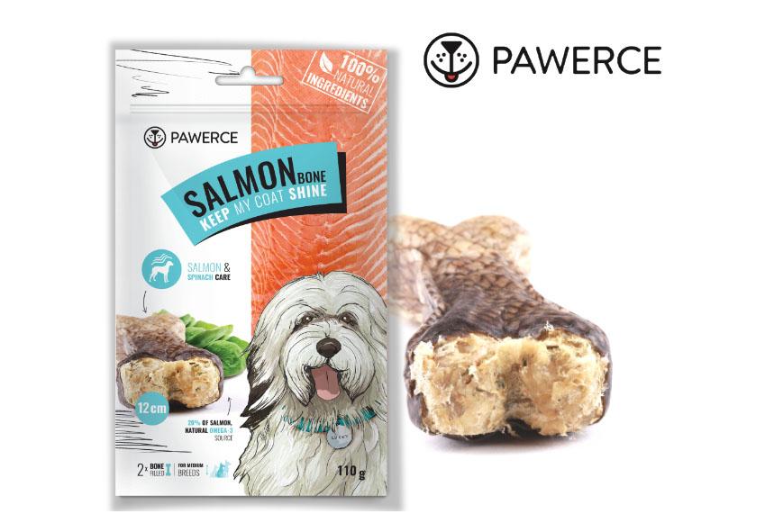 PAWERCE SALMON BONE  – zdrowe ismaczne gryzaki złososiem norweskim oraz szpinakiem