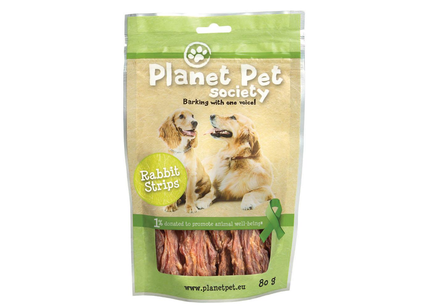 Planet Pet Society Przysmak Paski zkrólika 80 g