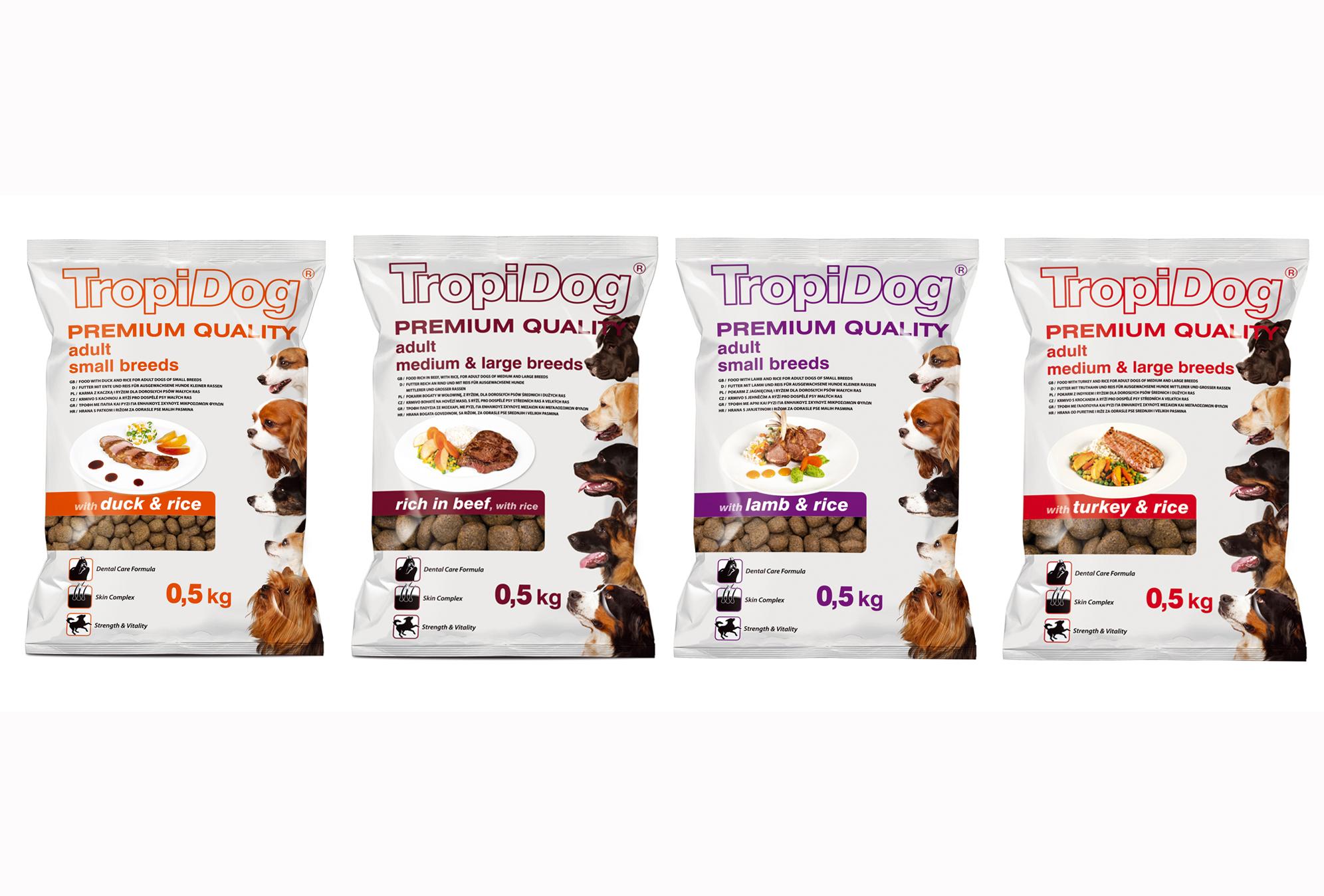 Karmy TropiDog Premium teraz także w opakowaniach o pojemności 0,5 kg!