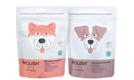 """MOUSH – jak """"muszka""""! Przysmaki funkcjonalne z owadami dla psów i kotów."""